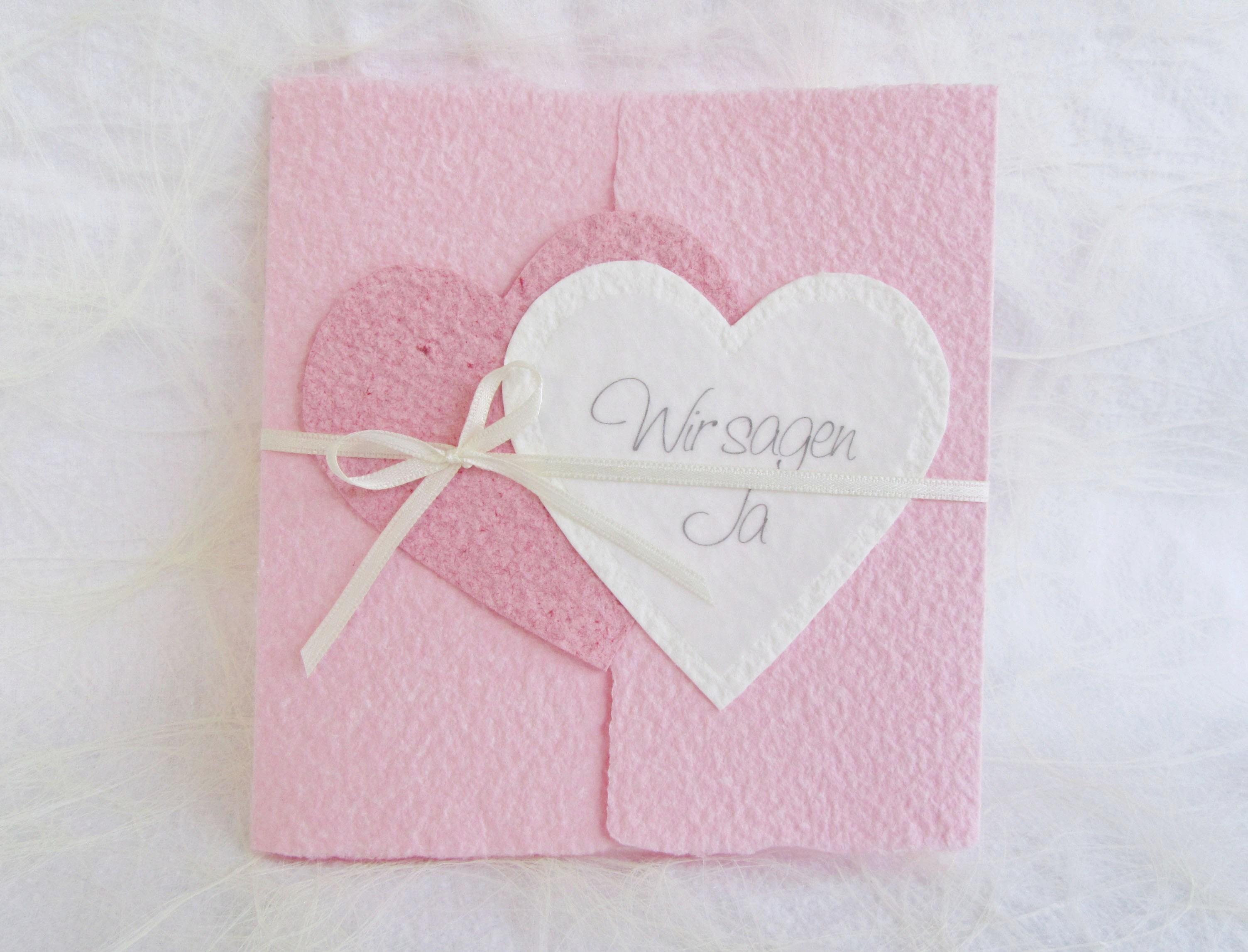 Hochzeitseinladung Herzen Aus Handgeschopftem Papier Lilimo