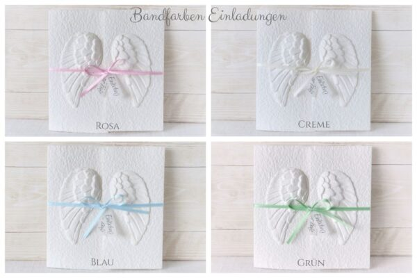 Bandfarben zur handgemachte und individualisierbaren Einladung Engeslfügel