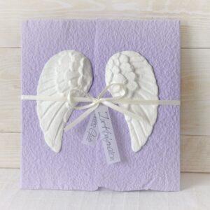 Handgemachte und personalisierbare Glückwunschkarte zur Taufe, Kommunion, Konfirmation oder Firmung lila