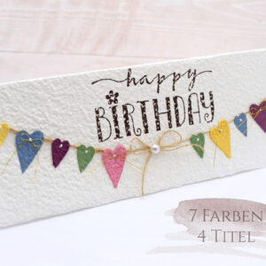 Geburtstagskarte Herzchen-Wimpelkette bunt