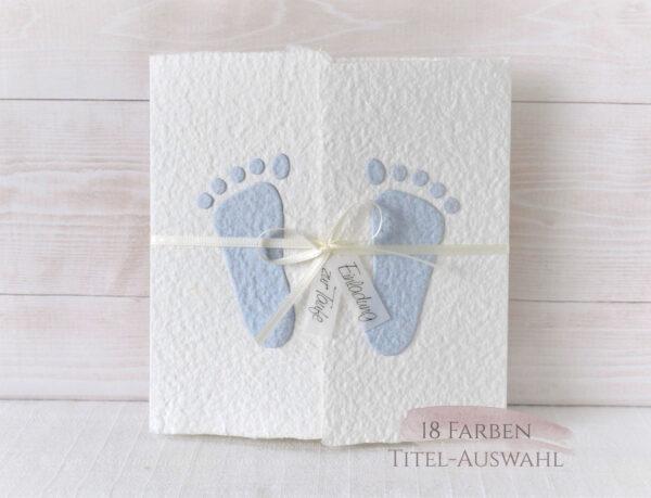 Taufeinladung Füsschen blau aus handgeschöpftem Papier
