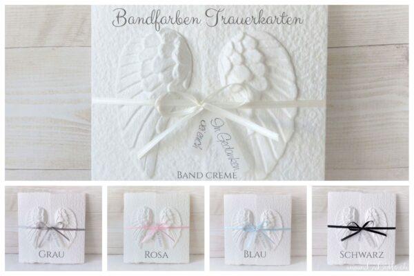 Handgemachte und individualisierbare Trauerkarte Engelsflügel