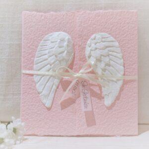 Handgemachte und individualisierbare Trauerkarte Engelsflügel Sternenkind rosa