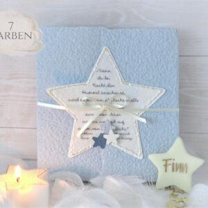 Trauerkarte für ein Kind, Sternenkind oder Baby Stern blau mit Spruch vom kleinen Prinz